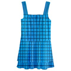 Seamless Blue Tiles Pattern Kids  Layered Skirt Swimsuit by Jojostore