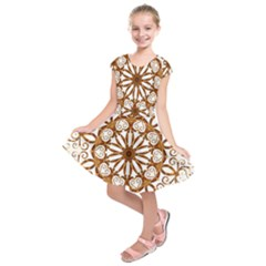 Golden Filigree Flake On White Kids  Short Sleeve Dress