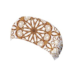 Golden Filigree Flake On White Yoga Headband by Jojostore