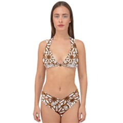Golden Filigree Flake On White Double Strap Halter Bikini Set by Jojostore