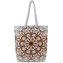 Golden Filigree Flake On White Full Print Rope Handle Tote (small) by Jojostore
