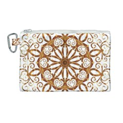 Golden Filigree Flake On White Canvas Cosmetic Bag (large)