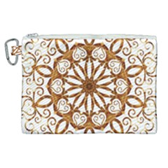 Golden Filigree Flake On White Canvas Cosmetic Bag (xl) by Jojostore