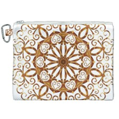 Golden Filigree Flake On White Canvas Cosmetic Bag (xxl) by Jojostore
