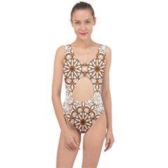 Golden Filigree Flake On White Center Cut Out Swimsuit by Jojostore
