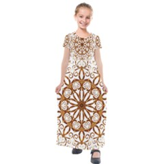 Golden Filigree Flake On White Kids  Short Sleeve Maxi Dress by Jojostore