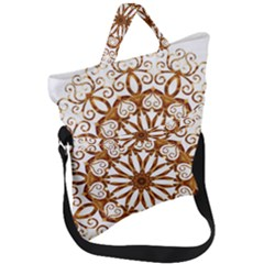 Golden Filigree Flake On White Fold Over Handle Tote Bag by Jojostore