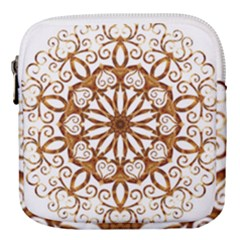 Golden Filigree Flake On White Mini Square Pouch