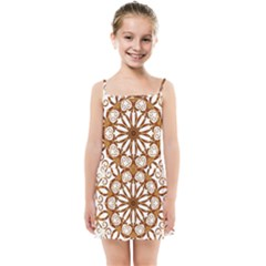 Golden Filigree Flake On White Kids Summer Sun Dress