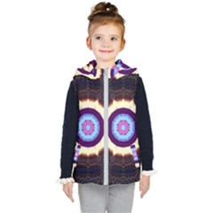 Mandala Art Design Pattern Ornament Flower Floral Kid s Hooded Puffer Vest