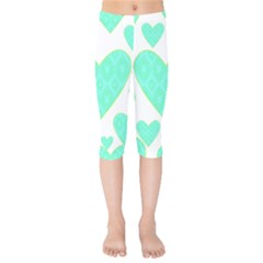 Green Heart Pattern Kids  Capri Leggings