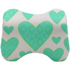 Green Heart Pattern Head Support Cushion