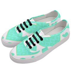 Green Heart Pattern Women s Classic Low Top Sneakers by Jojostore