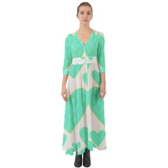Green Heart Pattern Button Up Boho Maxi Dress