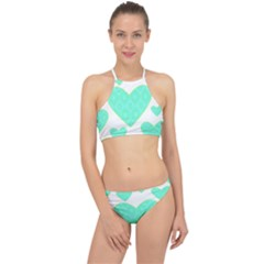 Green Heart Pattern Racer Front Bikini Set