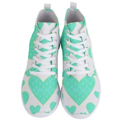 Green Heart Pattern Men s Lightweight High Top Sneakers