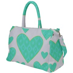 Green Heart Pattern Duffel Travel Bag by Jojostore