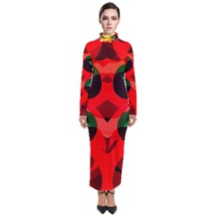 Abstract Abstract Digital Design Turtleneck Maxi Dress