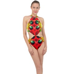 Abstract Abstract Digital Design Halter Side Cut Swimsuit