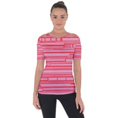 Index Red Pink Shoulder Cut Out Short Sleeve Top