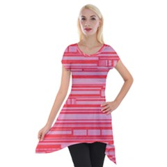 Index Red Pink Short Sleeve Side Drop Tunic