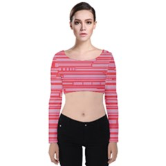 Index Red Pink Velvet Long Sleeve Crop Top