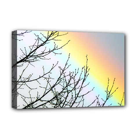 Rainbow Sky Spectrum Rainbow Colors Deluxe Canvas 18  X 12  (stretched)
