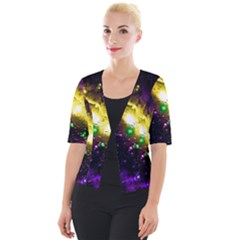 Galaxy Deep Space Space Universe Stars Nebula Cropped Button Cardigan