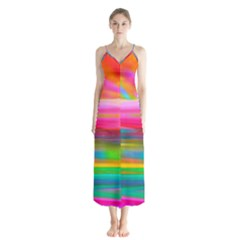 Abstract Illustration Nameless Fantasy Button Up Chiffon Maxi Dress
