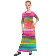 Abstract Illustration Nameless Fantasy Kids  Quarter Sleeve Maxi Dress by Jojostore
