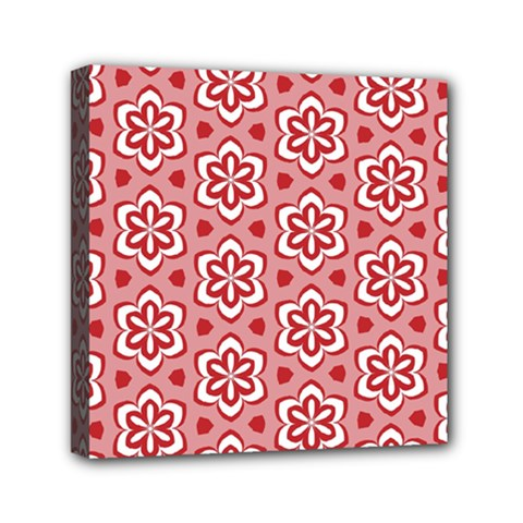 Floral Abstract Pattern Mini Canvas 6  X 6  (stretched) by Jojostore
