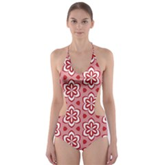 Floral Abstract Pattern Cut Out One Piece Swimsuit