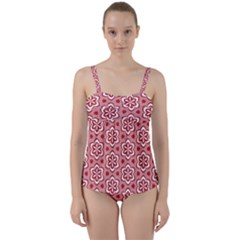 Floral Abstract Pattern Twist Front Tankini Set
