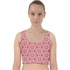 Floral Abstract Pattern Velvet Racer Back Crop Top
