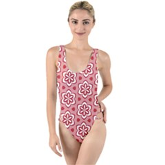 Floral Abstract Pattern High Leg Strappy Swimsuit