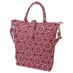 Floral Abstract Pattern Buckle Top Tote Bag