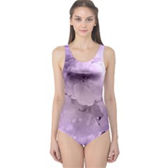 Wonderful Flowers In Soft Violet Colors One Piece Swimsuit