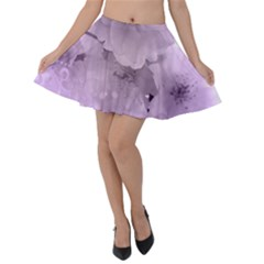 Wonderful Flowers In Soft Violet Colors Velvet Skater Skirt by FantasyWorld7