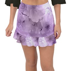 Wonderful Flowers In Soft Violet Colors Fishtail Mini Chiffon Skirt by FantasyWorld7