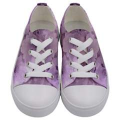 Wonderful Flowers In Soft Violet Colors Kids  Low Top Canvas Sneakers