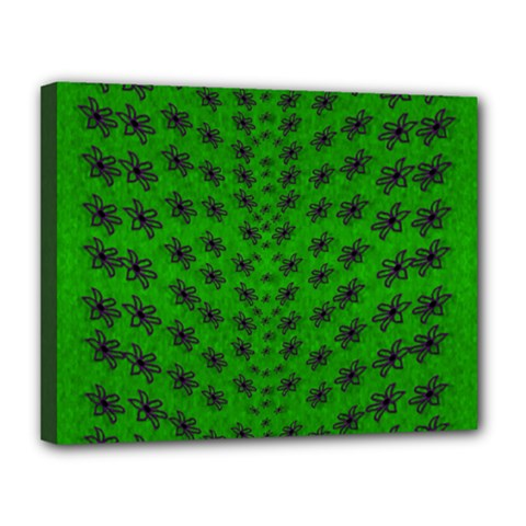 Forest Flowers In The Green Soft Ornate Nature Canvas 14  X 11  (stretched) by pepitasart