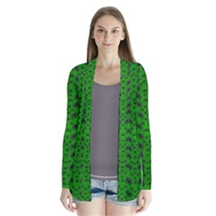 Forest Flowers In The Green Soft Ornate Nature Drape Collar Cardigan by pepitasart