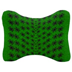 Forest Flowers In The Green Soft Ornate Nature Velour Seat Head Rest Cushion