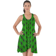 Forest Flowers In The Green Soft Ornate Nature Show Some Back Chiffon Dress