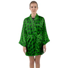 Forest Flowers In The Green Soft Ornate Nature Long Sleeve Kimono Robe by pepitasart