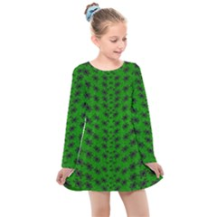 Forest Flowers In The Green Soft Ornate Nature Kids  Long Sleeve Dress by pepitasart