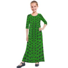 Forest Flowers In The Green Soft Ornate Nature Kids  Quarter Sleeve Maxi Dress