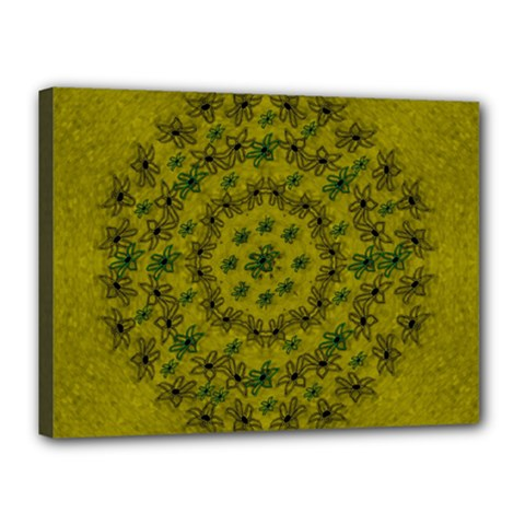 Flower Wreath In The Green Soft Yellow Nature Canvas 16  X 12  (stretched)