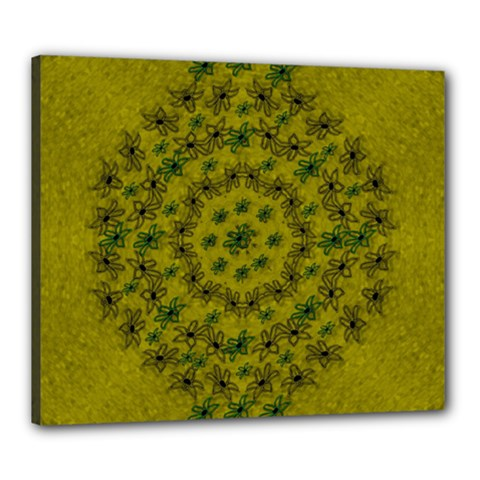 Flower Wreath In The Green Soft Yellow Nature Canvas 24  X 20  (stretched) by pepitasart
