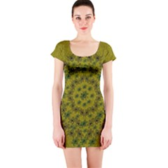 Flower Wreath In The Green Soft Yellow Nature Short Sleeve Bodycon Dress by pepitasart